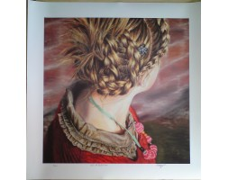 """Girl with Plaited Hair, limited edition print 12"""" x 12"""""""