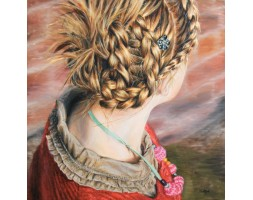 "Girl with Plaited Hair, limited edition print 18"" x 18"""